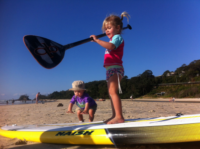 We start them young, Charlotte in Byron Bay