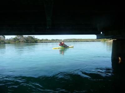 Under the bridge at high tide in Brunswick River