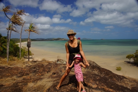 Fabienne Wintle and Charlotte at Cape York, the tip of Australia