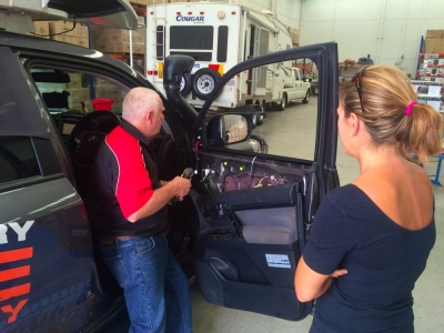 Mike fitting our Clearview Towing Mirrors