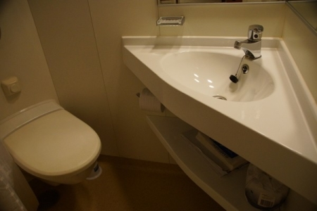 En suite with toilet, basin and big corner shower