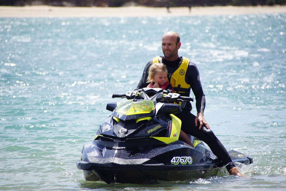 Warrick and Celste jetskiing